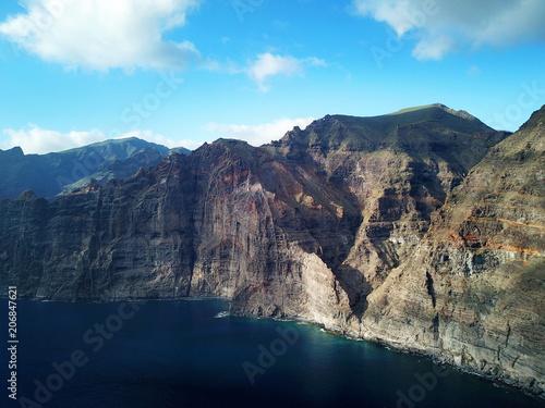 Deurstickers Canarische Eilanden Los Gigantes Cliffs on Tenerife, Aerial View