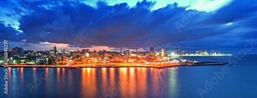 Panoramic View of Havana city and bay at night fell