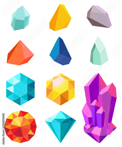 Valokuva  Precious Stones Collection Vector Illustration