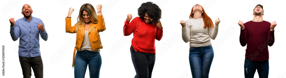 Fototapeta Group of cool people, woman and man happy and excited expressing winning gesture. Successful and celebrating victory, triumphant