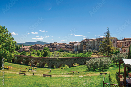 Fotografie, Obraz  View of Colle di Val d Elsa town with bridge and vegetation at the front