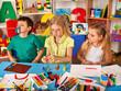 Child dough play in school. Plasticine for children. Mold from plasticine in kindergarten. Boy fun and makes faces in kindergarten. Exhibition of crafts from plasticine.