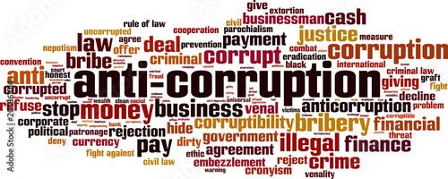Anti-corruption word cloud Canvas Print
