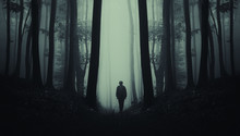 Man On Dark Scary Forest Road,...