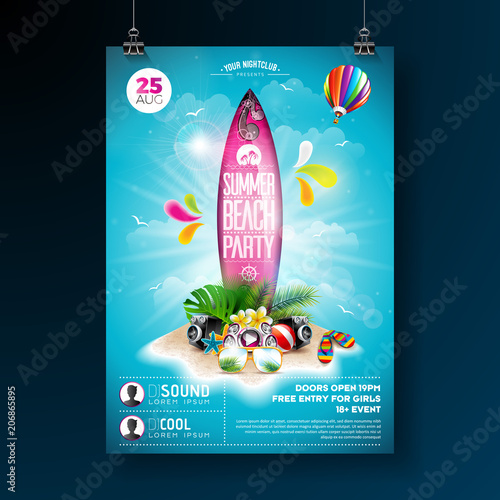 vector-summer-beach-party-flyer-design-with-typographic-elements-on-surf-board-summer-nature-floral-elements-tropical-plants-flower-beach-ball-and-surf-board-on-blue-cloudy-sky-background-design