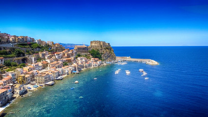 Chianalea homes in Scilla. Aerial view of Calabria, Italy
