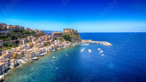 Chianalea homes in Scilla. Aerial view of Calabria, Italy - 206867213