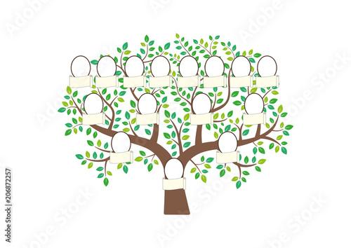 Fotografie, Tablou Family tree and nameplate. Vector illustration