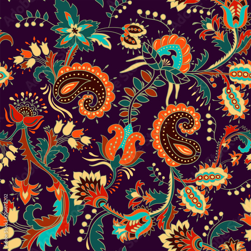 Foto auf Gartenposter Boho-Stil Colorful seamless Paisley pattern. Decorative indian ornament. Floral wallpaper