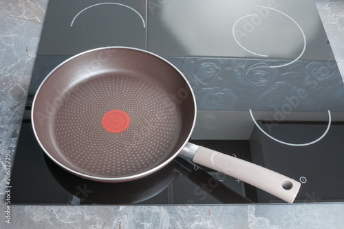 Empty frying pan on electric stove