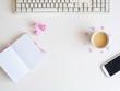 Schreibtisch mit einer Tasse Kaffee