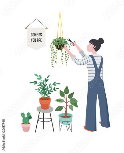 Fototapeta Urban jungle, trendy home decor with plants, planters, cacti, tropical leaves obraz na płótnie