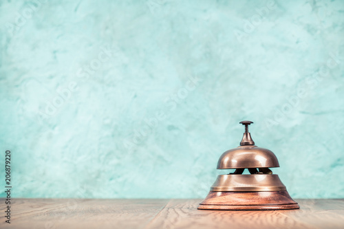 Retro Hotel Reception Service Desk Bell Front Textured Aquamarine Concrete Wall Background Vintage Old Instagram