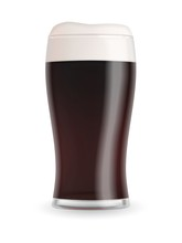 Realistic Beer Glass With Dark Stout Beer