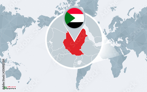 World Map Centered On America With Magnified Sudan Buy This Stock