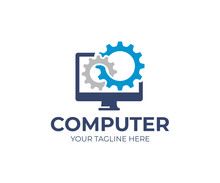 Computer Repair Logo Template. Software Development Vector Design. Desktop Service Logotype