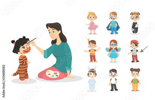 Pinturas sobre lienzo  Children with colors.