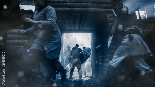 Photo  Medieval Battle, Guards Standing in the Wooden Fortress Gates Defend Hillfort From Viking Attack