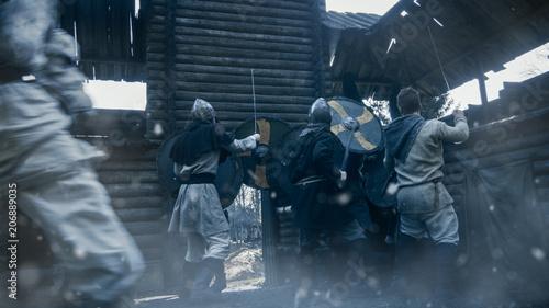 Medieval Battle Viking Warriors Break Into Wooden Fortress