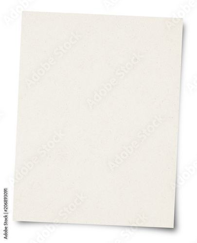 White Paper sheet isolated on white background Wall mural