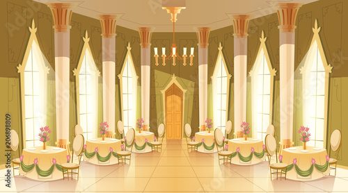 Fotografia Vector cartoon illustration of castle hall, ballroom for dancing, royal receptions, dinners or banquets