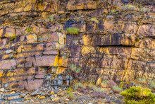 Natural Colourful Rockface Background In Andalucia, Spain. The Rock Is Flat And Layered, It Is Crumbling In Places, Slate Like.  It Has Yellow And Blue Grey Colours With Moss And Plants In Between.