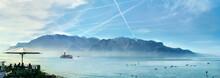 Geneva Lake In Vevey Town. Vaud Canton, Switzerland