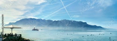Geneva Lake in Vevey town. Vaud canton, Switzerland Canvas Print