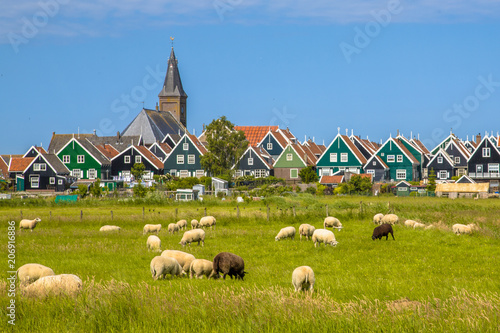 Canvas Print Dutch Village with colorful wooden houses and church