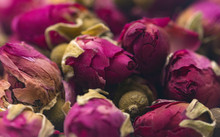 A Background Of Dried Rose Buds