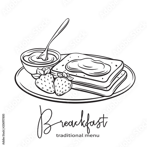 Fotomural hand drawn toast with jam