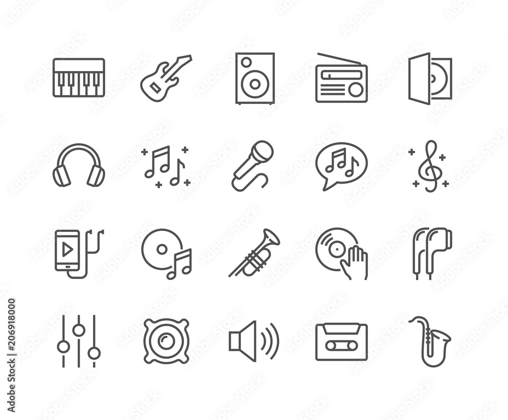 Fototapeta Simple Set of Music Related Vector Line Icons. Contains such Icons as Guitar, Treble Clef, In-ear Headphones, Trumpet and more. Editable Stroke. 48x48 Pixel Perfect.