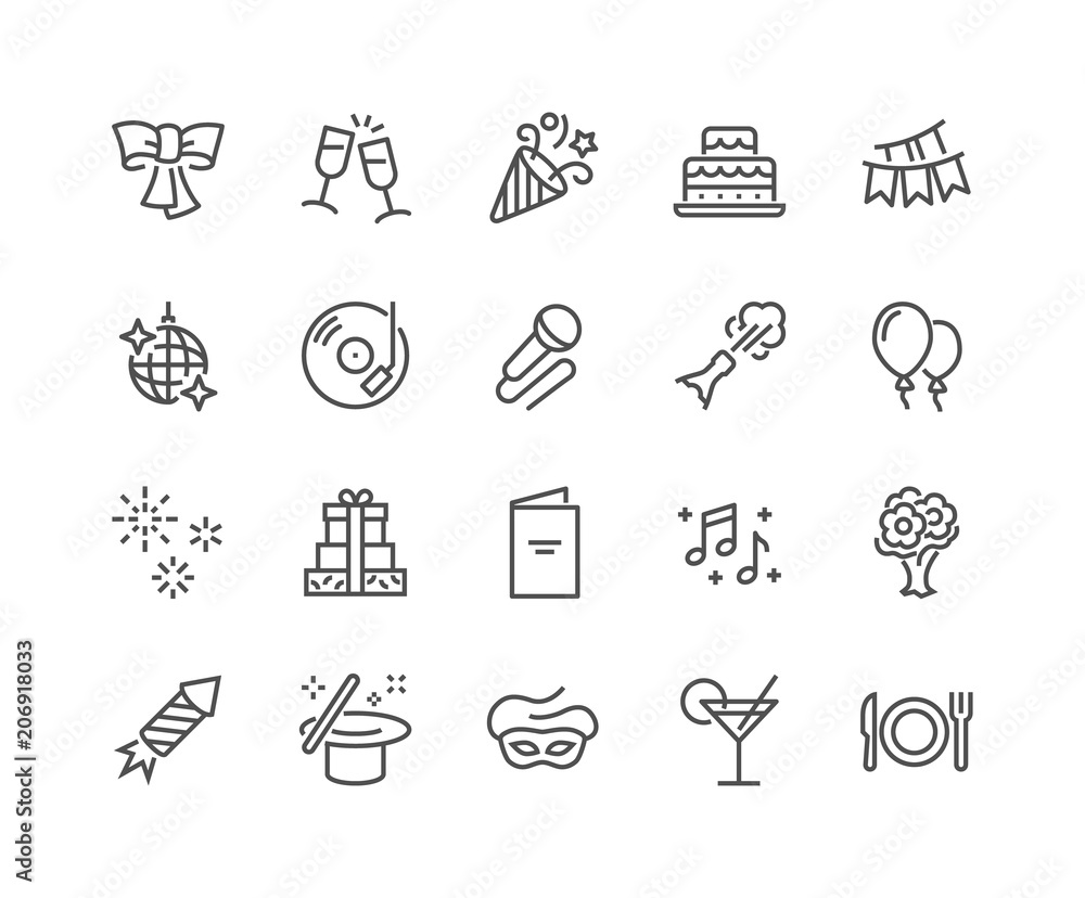 Fototapety, obrazy: Simple Set of Related Vector Line Icons. Contains such Icons as Bouquet of Flowers, Karaoke, Dj, Masquerade and more. Editable Stroke. 48x48 Pixel Perfect.