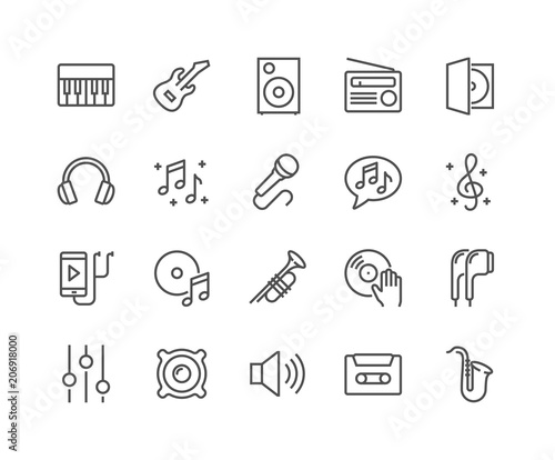 Simple Set of Music Related Vector Line Icons. Contains such Icons as Guitar, Treble Clef, In-ear Headphones, Trumpet and more. Editable Stroke. 48x48 Pixel Perfect. - 206918000