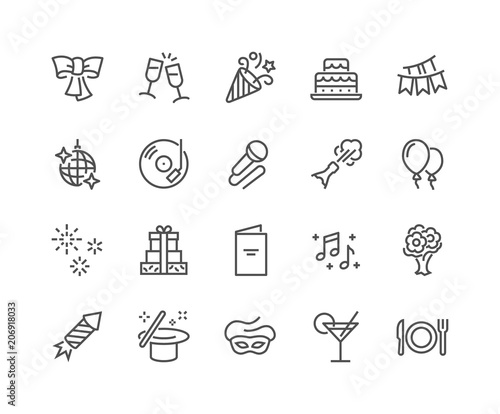 Obraz Simple Set of Related Vector Line Icons. Contains such Icons as Bouquet of Flowers, Karaoke, Dj, Masquerade and more. Editable Stroke. 48x48 Pixel Perfect. - fototapety do salonu