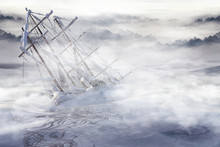 The Ghost Ship. Old Ship In A Frozen Lake, 3d Render.