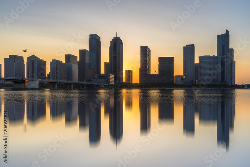 urban skyline and modern buildings at dusk, cityscape of China.
