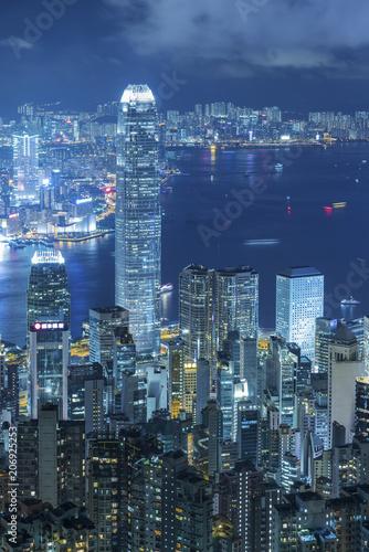 Hong-Kong Victoria harbor of Hong Kong City at night