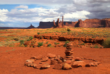 Stones Stack At Monument Valley