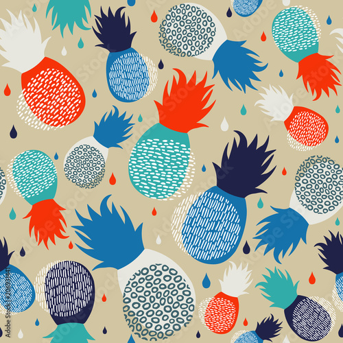 Foto  Pineapple abstract seamless pattern background