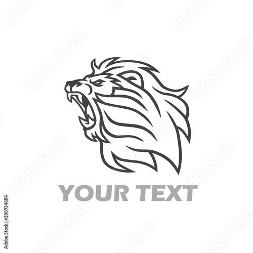 Fototapety, obrazy: Lion Roaring Logo. Line Art Design Template Vector Illustration