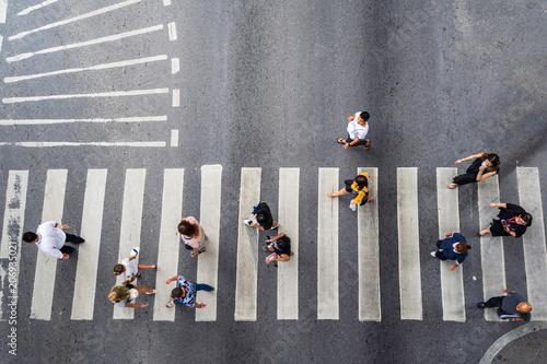 Keuken foto achterwand New York Aerial photo top view of people walk on street in the city over pedestrian crossing traffic road