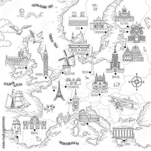 Hand drawn map of Europe with selected capitals and ...