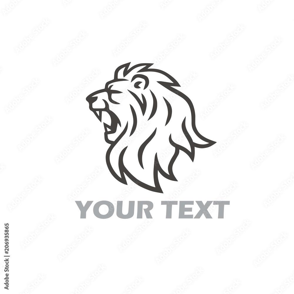 Lion Head Roaring Vector Logo Template