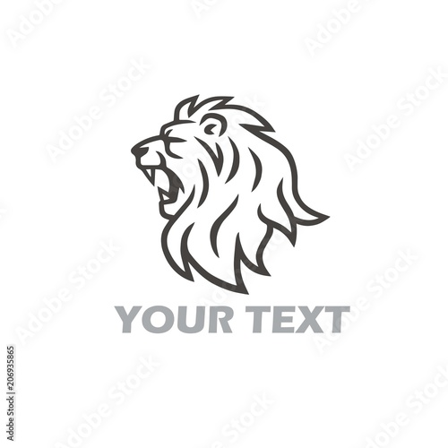 Fototapety, obrazy: Lion Head Roaring Vector Logo Template