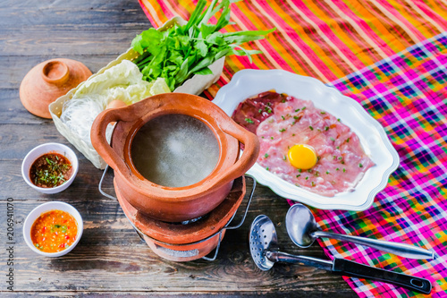 Fotografie, Obraz  Soup with Pork Pot Hot Pot thai style