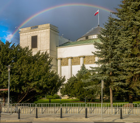 Rainbow over the Parliament of the Republic of Poland