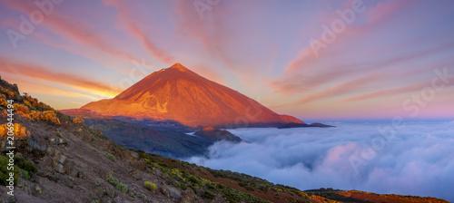 Fotografie, Obraz  Teide volcano in Tenerife in the light of the rising sun