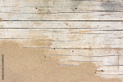 Photo Stands Wood Sand on planked wood. Summer background with copy space. Top view