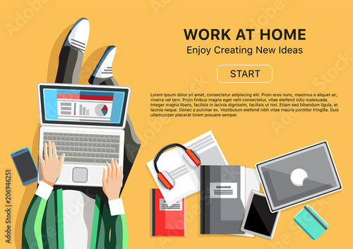 Work At Home Business Concept Top View Man With Phone Headphones Laptop And